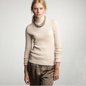 J Crew Ivory Cambridge Cable Turtleneck Sweater M
